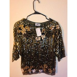 Tops - Gold Embellished Sequenced Top Size M Retails $155